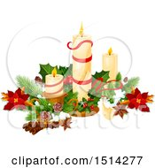 Clipart Of A Still Life With Christmas Candles Royalty Free Vector Illustration