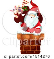 Clipart Of A Santa Claus Climbing Into A Chimney Royalty Free Vector Illustration by Vector Tradition SM