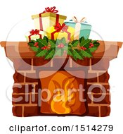 Clipart Of A Christmas Fireplace With Gifts Royalty Free Vector Illustration
