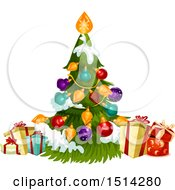 Clipart Of A Christmas Tree And Presents Royalty Free Vector Illustration