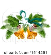 Clipart Of A Christmas Tree Branches Pinecones And Bells Royalty Free Vector Illustration
