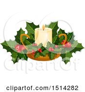 Clipart Of A Christmas Candle With Holly Royalty Free Vector Illustration