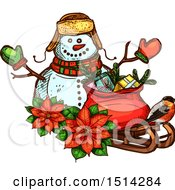 Clipart Of A Christmas Snowman With Poinsettias A Robin And A Sack With Gifts On A Sleigh Royalty Free Vector Illustration