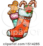Clipart Of A Christmas Stocking With A Gingerbread Man Poinsettia And Candy Canes Royalty Free Vector Illustration by Vector Tradition SM