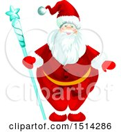 Clipart Of A Santa Claus Holding A Staff Royalty Free Vector Illustration by Vector Tradition SM