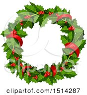 Clipart Of A Christmas Holly Wreath Royalty Free Vector Illustration