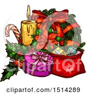 Clipart Of A Christmas Wreath Poinsettia Candy Cane Candle And Gifts Royalty Free Vector Illustration