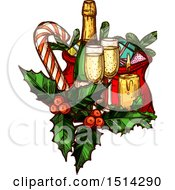 Clipart Of A Champagne Bottle And Glases With Gifts Holly A Candy Cane And Candle Royalty Free Vector Illustration
