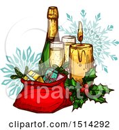 Clipart Of A Champagne Bottle With Glasses A Candle Holly And Sack Of Gifts Over Snowflakes Royalty Free Vector Illustration