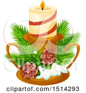 Clipart Of A Christmas Candle With Branches And Pinecones Royalty Free Vector Illustration