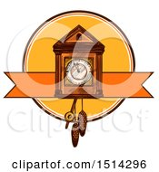 Clipart Of A Christmas Cukoo Clock Royalty Free Vector Illustration