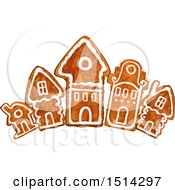 Clipart Of A Row Of Christmas Gingerbread Houses Royalty Free Vector Illustration by Vector Tradition SM