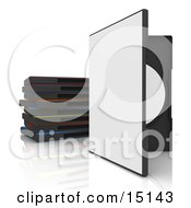 Open White Dvd Or Software Case With A Blank Cover Balanced Upright Beside A Stack Of Colorful Cases On A White Reflective Background Clipart Graphic Illustration