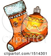 Clipart Of A Christmas Stocking And Bauble Ornament Royalty Free Vector Illustration