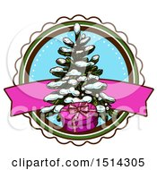 Clipart Of A Christmas Tree With Snow And A Gift Royalty Free Vector Illustration by Vector Tradition SM