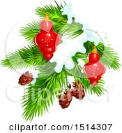 Clipart Of A Christmas Tree Branch With Pinecones Snow And Baubles Royalty Free Vector Illustration by Vector Tradition SM