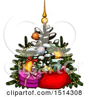 Clipart Of A Christmas Tree With Gifts Royalty Free Vector Illustration by Vector Tradition SM