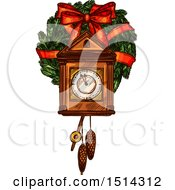 Clipart Of A Christmas Cukoo Clock Over A Wreath Royalty Free Vector Illustration by Vector Tradition SM