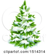 Clipart Of A Snow Flocked Christmas Tree Royalty Free Vector Illustration by Vector Tradition SM