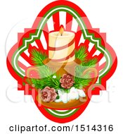 Clipart Of A Christmas Candle With Branches And Pinecones Over A Ray Frame Royalty Free Vector Illustration by Vector Tradition SM