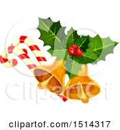 Poster, Art Print Of Christmas Bells Holly And Candy Canes