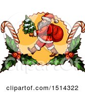Clipart Of A Santa Claus Carrying A Tree In A Holly And Candy Cane Frame Royalty Free Vector Illustration by Vector Tradition SM