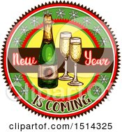 Clipart Of A Champagne Bottle And Glasses With New Year Is Coming Text Royalty Free Vector Illustration by Vector Tradition SM