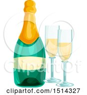 Clipart Of A Bottle Of Champagne And Glasses Royalty Free Vector Illustration by Vector Tradition SM