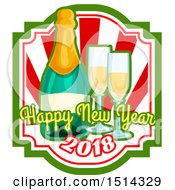 Clipart Of A Happy New Year 2018 Greeting With A Bottle Of Champagne And Glasses Royalty Free Vector Illustration by Vector Tradition SM