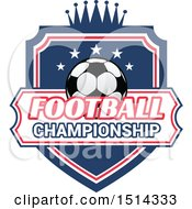 Clipart Of A Soccer Ball Shield Design With Text Royalty Free Vector Illustration
