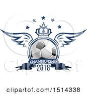 Clipart Of A Winged Soccer Ball With A Crown Stars And Championship Banner Royalty Free Vector Illustration
