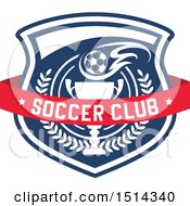 Clipart Of A Soccer Ball And Trophy Shield With Text Royalty Free Vector Illustration