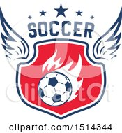 Clipart Of A Winged Soccer Ball Shield With Text Royalty Free Vector Illustration