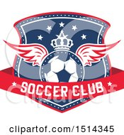 Clipart Of A Crowned Winged Soccer Ball Shield With Text Royalty Free Vector Illustration