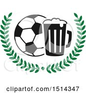Clipart Of A Soccer Ball Beer Mug And Wreath Sports Pub Bar Design Royalty Free Vector Illustration by Vector Tradition SM