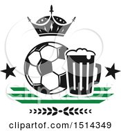 Clipart Of A Soccer Ball Beer Mug And Crown Sports Pub Bar Design Royalty Free Vector Illustration by Vector Tradition SM