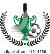 Clipart Of A Soccer Ball Beer Bottle Wreath And Trophy Sports Pub Bar Design Royalty Free Vector Illustration by Vector Tradition SM