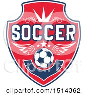 Clipart Of A Winged Soccer Ball Shield Royalty Free Vector Illustration