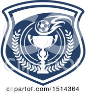 Clipart Of A Soccer Ball And Trophy Shield Royalty Free Vector Illustration