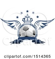 Clipart Of A Winged Soccer Ball With A Crown Stars And Banner Royalty Free Vector Illustration