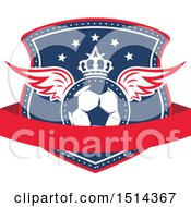 Clipart Of A Crowned Winged Soccer Ball Shield Royalty Free Vector Illustration