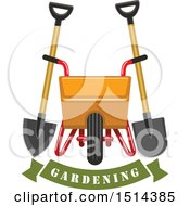 Clipart Of A Yellow Wheelbarrow Spade And Shovel Over A Gardening Banner Royalty Free Vector Illustration