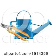 Clipart Of A Watering Can And Pruners Royalty Free Vector Illustration