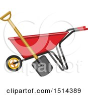 Clipart Of A Red Wheelbarrow And Shovel Royalty Free Vector Illustration