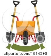 Clipart Of A Yellow Wheelbarrow Spade And Shovel Over A Banner Royalty Free Vector Illustration