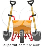 Clipart Of A Yellow Wheelbarrow Spade And Shovel Royalty Free Vector Illustration