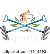 Clipart Of A Spray Nozzle And Crossed Rakes Royalty Free Vector Illustration