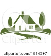 Clipart Of A Green Home Residence Royalty Free Vector Illustration