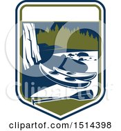 Clipart Of A River And Kayak Shield Royalty Free Vector Illustration