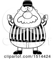 Clipart Of A Black And White Chubby Male Referee With A Mustache Gesturing Good Royalty Free Vector Illustration